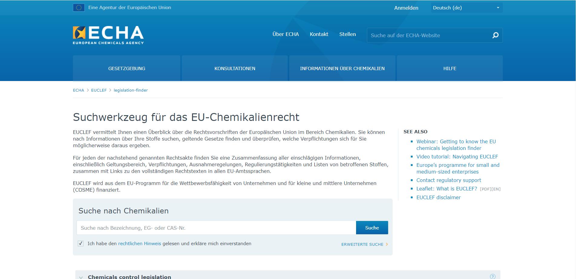 Screenshot der EUCLEF Datenbank