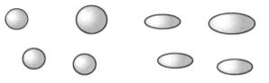 Beispiel: Emulsionströpfchen im Ruhezustand (links) und unter Scherung (rechts)