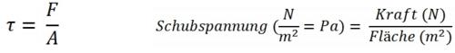 Darstellung der Schubspannung als Formel