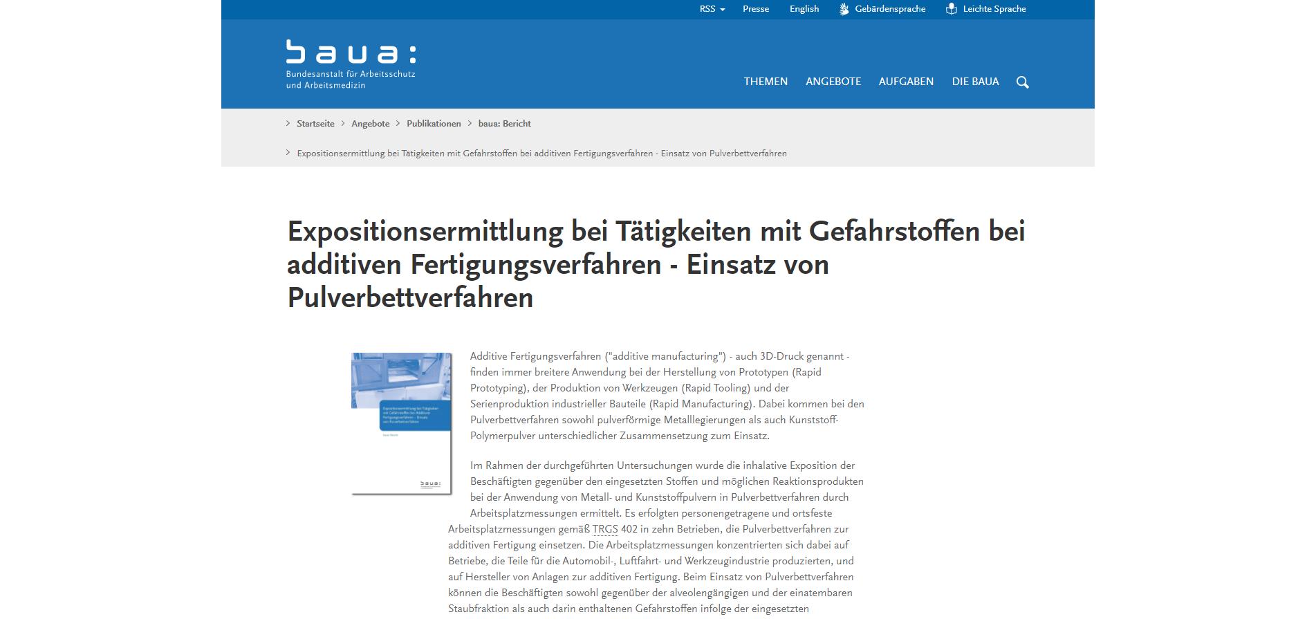 Screenshot BAuA; Expositionsermittlung bei Tätigkeiten mit Gefahrstoffen bei additiven Fertigungsverfahren - Einsatz von Pulverbettverfahren