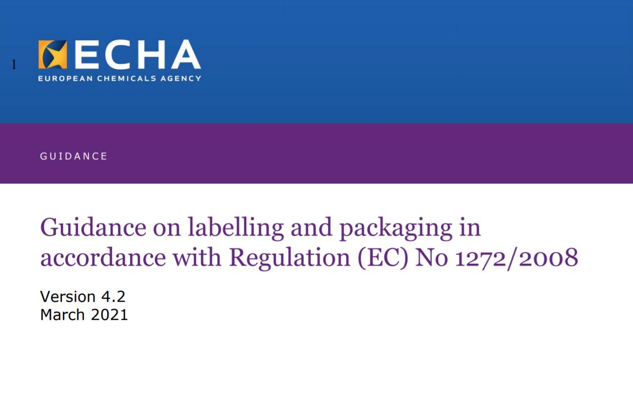 Screenshot der ECHA Leitlinien zur Kennzeichnung und Verpackung Version .0