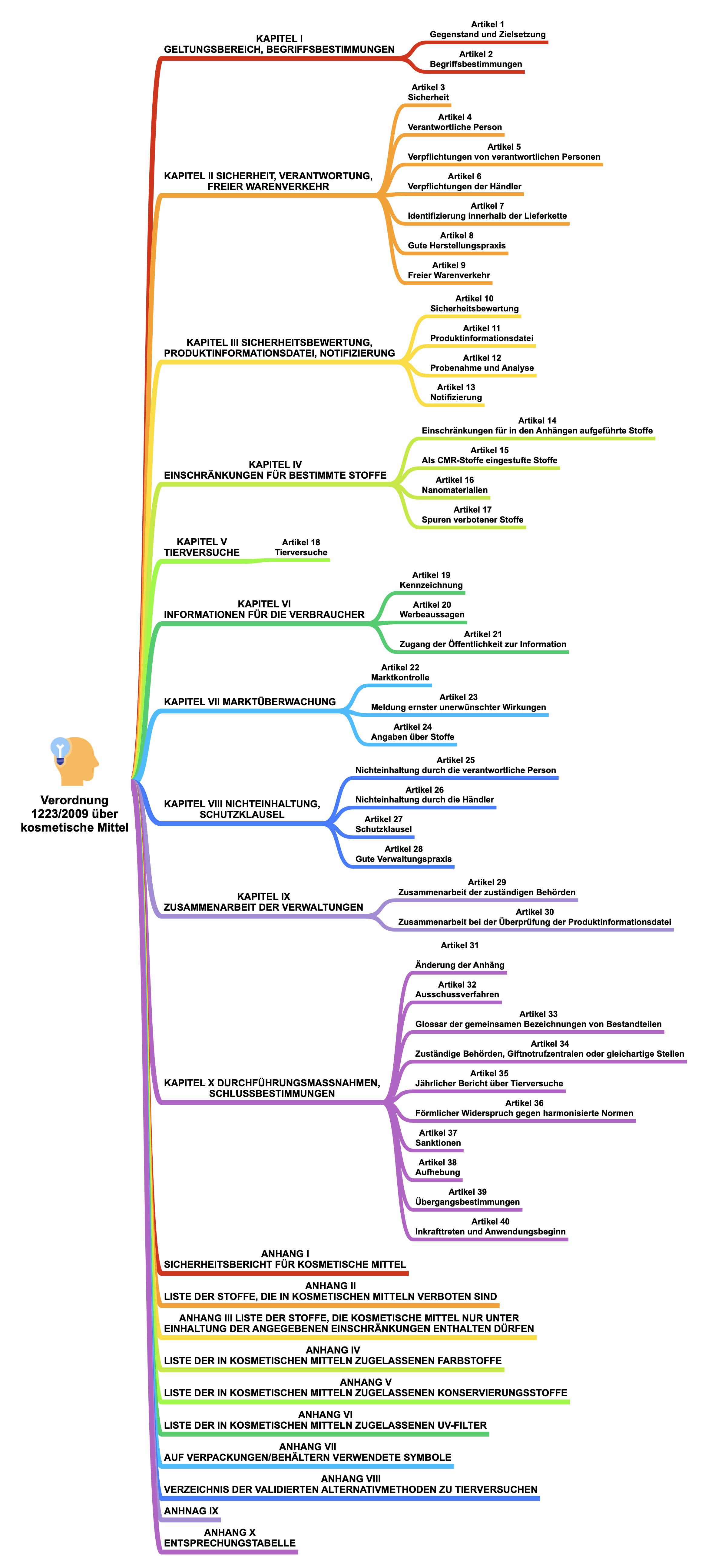 Grafische Darstellung der Struktur der Verordnung (EG) Nr. 1223/2009 über kosmetische Mittel